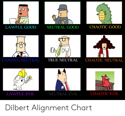 True, Good, and Dilbert: CHAOTIC GOOD  LAWFUL GOOD  NEUTRAL GOOD  LAWFUL NEUTRAL  TRUE NEUTRAL  CHAOTIC NEUTRAL  CHAOTIC EVIL  LAWFUL EVIL  NEUTRAL EVIL Dilbert Alignment Chart