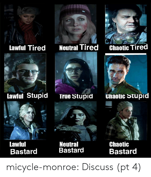 Lawful: Chaotic Tired  Neutral Tired  Lawful Tired  Lawful Stupid  Unaotic Stupid  True Stupid  Neutral  Bastard  Lawful  Bastard  Chaotic  Bastard micycle-monroe:  Discuss (pt 4)