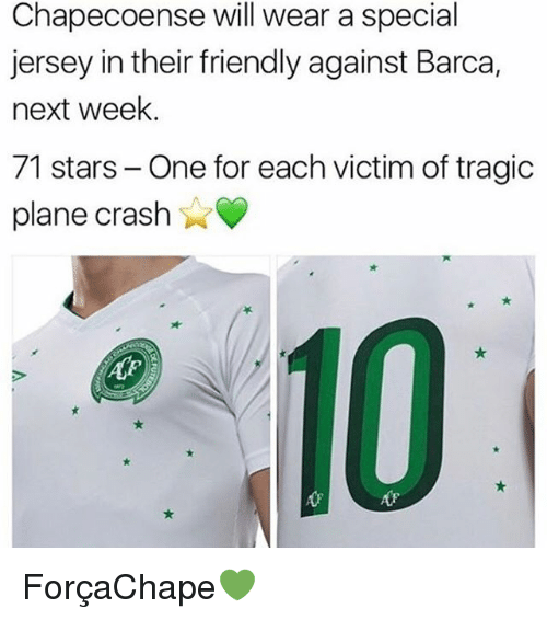 Chapecoense: Chapecoense will wear a special  jersey in their friendly against Barca,  next week.  71 stars- One for each victim of tragic  plane crash  心. ForçaChape💚
