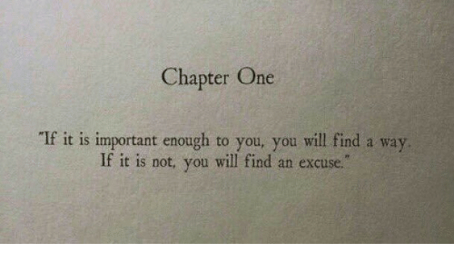 """chapter: Chapter One  If it is important enough to you, you will find a way  If it is not, you will find an excuse."""""""