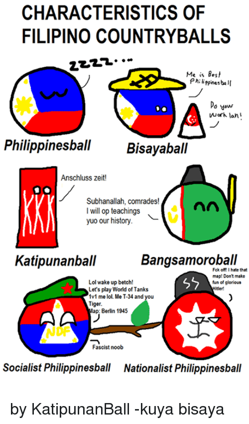 world of tank: CHARACTERISTICS OF  FILIPINO COUNTRYBALLS  Me is Best  ppinesba  Do yow  work lan  Philippinesball  Bisayaball  Anschluss zeit!  Subhanallah, comrades!  nn  I will op teachings  yuo our history.  Bangsamoroball  Katipunanball  that  map: Don't make  Lol wake up betch!  fun of glorious  Let's play World of Tanks  1v1 me lol. Me 4 and you  Tiger  lap: Berlin 1945  Fascist noob  Socialist Philippinesball Nationalist Philippinesball by KatipunanBall -kuya bisaya