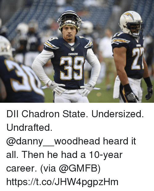 Memes, Chargers, and 🤖: CHARGERS DII Chadron State. Undersized. Undrafted.  @danny__woodhead heard it all. Then he had a 10-year career. (via @GMFB) https://t.co/JHW4pgpzHm