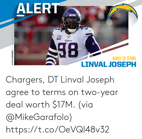 Chargers: Chargers, DT Linval Joseph agree to terms on two-year deal worth $17M. (via @MikeGarafolo) https://t.co/OeVQl48v32