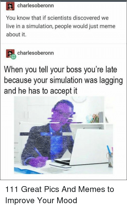 Youre Late: charlesoberonn  You know that if scientists discovered we  live in a simulation, people would just meme  about it.  charlesoberonn  When you tell your boss you're late  because your simulation was lagging  and he has to accept it 111 Great Pics And Memes to Improve Your Mood