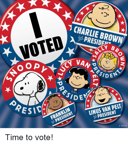 linus: CHARLIE BROWN  VOTED  LY B  NO OP  n ENT  SICA  PELT  LINUS PRESIDENT  FRANKLIN  O PNTS Time to vote!