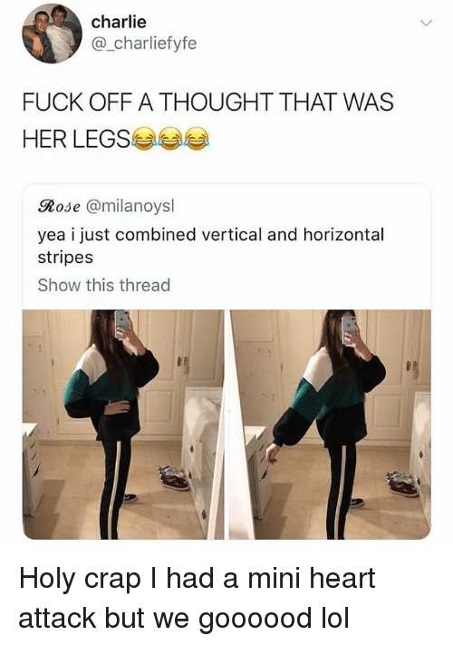 Mini Heart Attack: charlie  @_charliefyfe  FUCK OFF A THOUGHT THAT WAS  HER LEGS  Rose @milanoysl  yea i just combined vertical and horizontal  stripes  Show this thread Holy crap I had a mini heart attack but we goooood lol