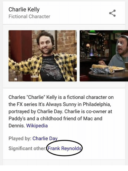 """Kellie: Charlie Kelly  Fictional Character  Charles """"Charlie"""" Kelly is a fictional character on  the FX series It's Always Sunny in Philadelphia,  portrayed by Charlie Day. Charlie is co-owner at  Paddy's and a childhood friend of Mac and  Dennis. Wikipedia  Played by  Charlie Da  Significant other  Frank Reynolds"""