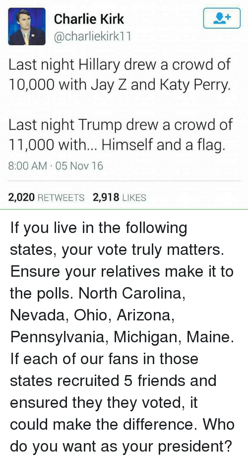 katie perry: Charlie Kirk  Cacharliekirk11  Last night Hillary drew a crowd of  10,000 with Jay Z and Katy Perry  Last night Trump drew a crowd of  11,000 with... Himself and a flag.  8:00 AM 05 Nov 16  2,020  RETWEETS 2,918  LIKES If you live in the following states, your vote truly matters. Ensure your relatives make it to the polls.  North Carolina, Nevada, Ohio, Arizona, Pennsylvania, Michigan, Maine.   If each of our fans in those states recruited 5 friends and ensured they they voted, it could make the difference.   Who do you want as your president?