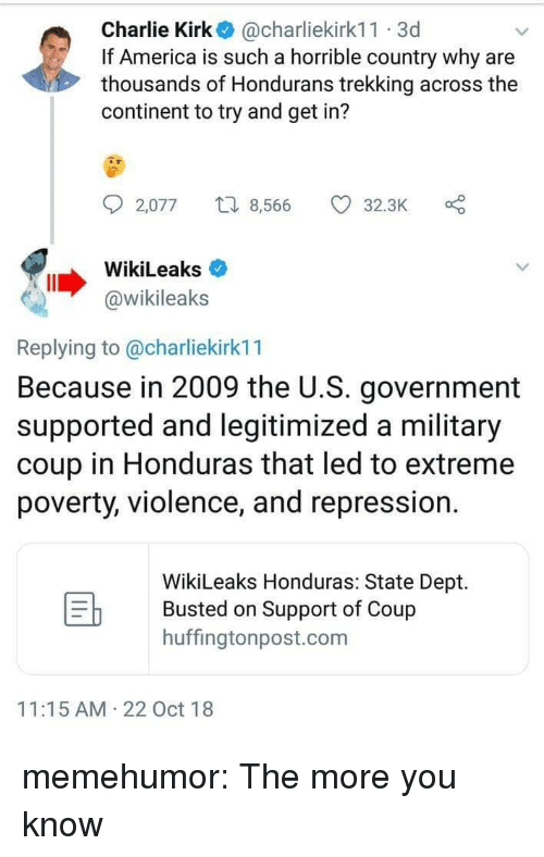 Honduras: Charlie Kirk@charliekirk11 3d  If America is such a horrible country why are  thousands of Hondurans trekking across the  continent to try and get in?  2,077  8,566 32.3K O  WikiLeaks  @wikileaks  Replying to @charliekirk11  Because in 2009 the U.S. government  supported and legitimized a military  coup in Honduras that led to extreme  poverty, violence, and repression.  WikiLeaks Honduras: State Dept.  Busted on Support of Coup  huffingtonpost.com  11:15 AM 22 Oct 18 memehumor:  The more you know