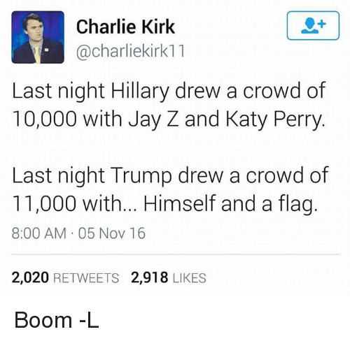 katie perry: Charlie Kirk  charliekirk11  Last night Hillary drew a crowd of  10,000 with Jay Z and Katy Perry  Last night Trump drew a crowd of  11,000 with... Himself and a fla  8:00 AM 05 Nov 16  2,020  RETWEETS 2,918  LIKES Boom -L