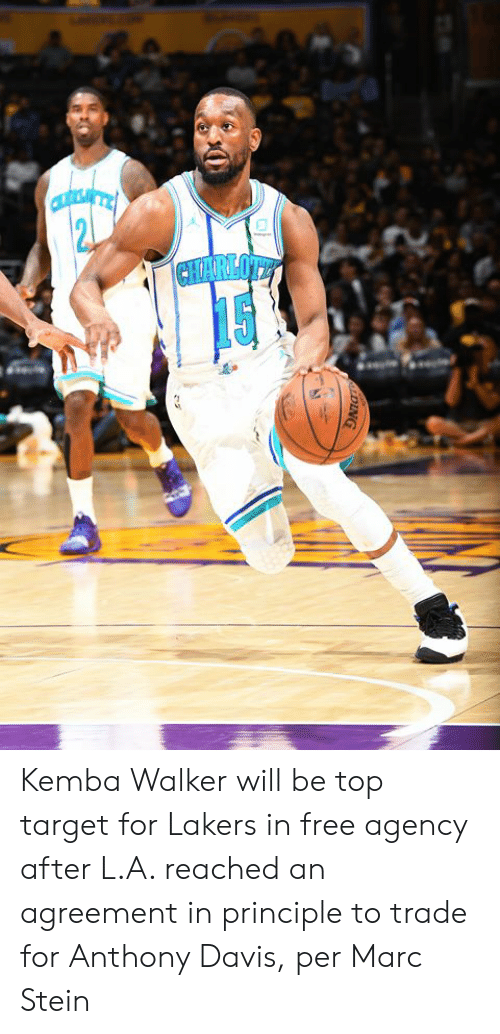 marc: CHARLOTE  DING Kemba Walker will be top target for Lakers in free agency after L.A. reached an agreement in principle to trade for Anthony Davis, per Marc Stein