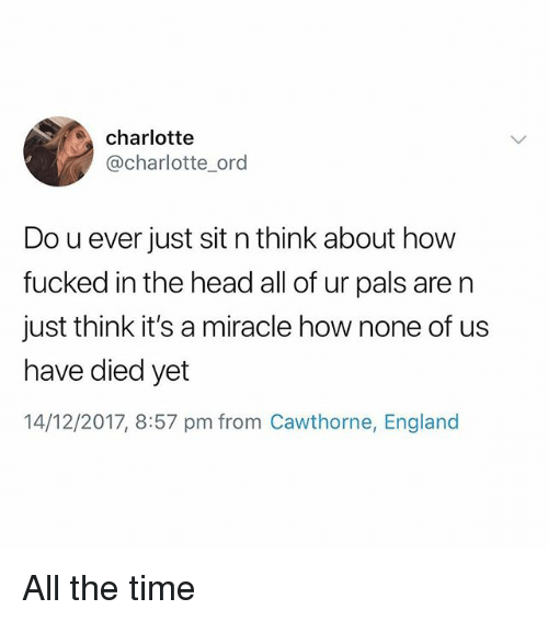 England, Head, and Charlotte: charlotte  @charlotte_ord  Do u ever just sit n think about how  fucked in the head all of ur pals are n  just think it's a miracle how none of us  have died yet  14/12/2017, 8:57 pm from Cawthorne, England All the time
