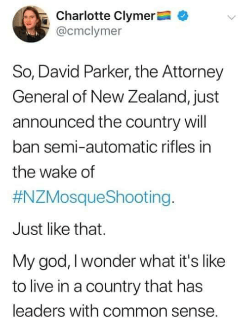 attorney general: Charlotte Clymer  @cmclymer  So, David Parker, the Attorney  General of New Zealand, just  announced the country will  ban semi-automatic rifles in  the wake of  #NZMosqueShooting.  Just like that.  My god, I wonder what it's like  to live in a country that has  leaders with common sense.