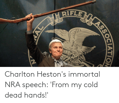 cold-dead-hands: Charlton Heston's immortal NRA speech: 'From my cold dead hands!'