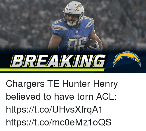 acl: CHARSERS  BREAKING Chargers TE Hunter Henry believed to have torn ACL: https://t.co/UHvsXfrqA1 https://t.co/mc0eMz1oQS