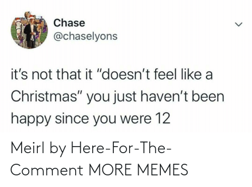 "comment: Chase  @chaselyons  it's not that it ""doesn't feel like a  Christmas"" you just haven't been  happy since you were 12 Meirl by Here-For-The-Comment MORE MEMES"