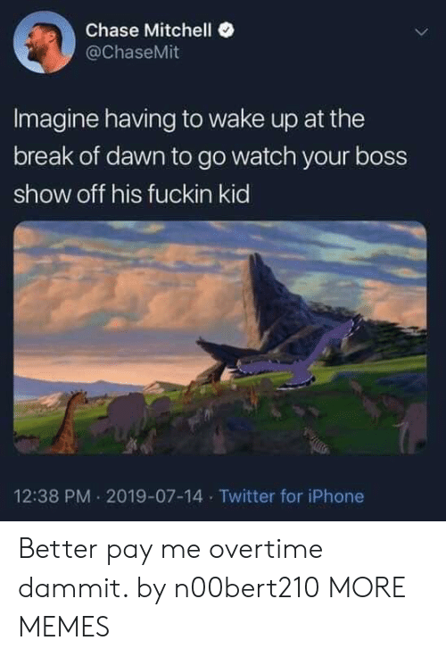 Mitchell: Chase Mitchell  @ChaseMit  Imagine having to wake up at the  break of dawn to go watch your boss  show off his fuckin kid  12:38 PM 2019-07-14 Twitter for iPhone Better pay me overtime dammit. by n00bert210 MORE MEMES