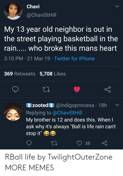 """Zooted: Chavi  @ChaviStHill  My 13 year old neighbor is out in  the street playing basketball in the  rain..... who broke this mans heart  3:10 PM 21 Mar 19 Twitter for iPhone  369 Retweets 5,708 Likes  zooted@indigoprincesa 18h  Replying to @ChaviStHill  My brother is 12 and does this. Whenl  ask why it's always """"Ball is life rain can't  stop it'  38 RBall life by TwilightOuterZone MORE MEMES"""