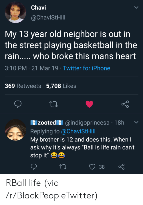 """Zooted: Chavi  @ChaviStHill  My 13 year old neighbor is out in  the street playing basketball in the  rain..... who broke this mans heart  3:10 PM 21 Mar 19 Twitter for iPhone  369 Retweets 5,708 Likes  zooted@indigoprincesa 18h  Replying to @ChaviStHill  My brother is 12 and does this. Whenl  ask why it's always """"Ball is life rain can't  stop it'  38 RBall life (via /r/BlackPeopleTwitter)"""