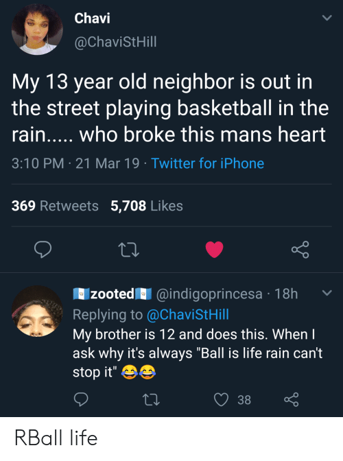 """Zooted: Chavi  @ChaviStHill  My 13 year old neighbor is out in  the street playing basketball in the  rain..... who broke this mans heart  3:10 PM 21 Mar 19 Twitter for iPhone  369 Retweets 5,708 Likes  zooted@indigoprincesa 18h  Replying to @ChaviStHill  My brother is 12 and does this. Whenl  ask why it's always """"Ball is life rain can't  stop it'  38 RBall life"""