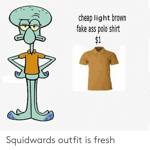 Polo: cheap light brown  fake ass polo shirt Squidwards outfit is fresh