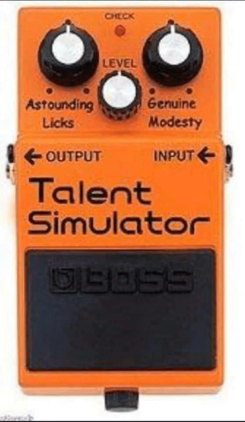 talent: CHECK  LEVEL  Astounding  Genuine  Modesty  Licks  OUTPUT  INPUT E  Talent  Simulator