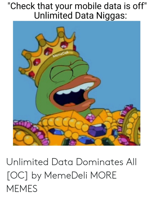 "Dell: ""Check that your mobile data is off""  Unlimited Data Niggas:  Dell  Meme Unlimited Data Dominates All [OC] by MemeDeli MORE MEMES"