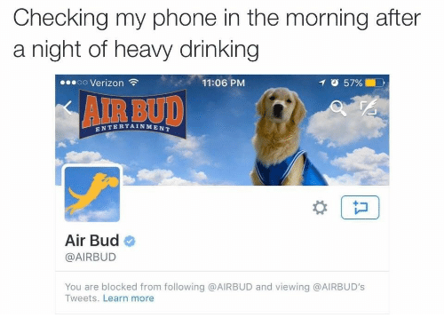 The Morning After: Checking my phone in the morning after  a night of heavy drinking  oo Verizon  11:06 PM  イび57%  AIR BUD  ENTERTAINMENT  Air Bud  @AIRBUD  You are blocked from following @AIRBUD and viewing @AIRBUD's  Tweets. Learn more