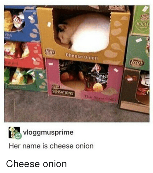 Memes, Onion, and 🤖: Cheese Omon  SENSATIONS  vloggmus prime  Her name is cheese onion  BUGE Cheese onion