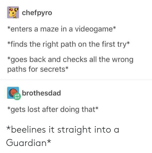 maze: chefpyro  *enters a maze in a videogame*  *finds the right path on the first try*  *goes back and checks all the wrong  paths for secrets*  brothesdad  *gets lost after doing that* *beelines it straight into a Guardian*
