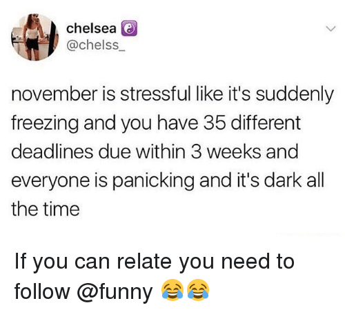 Chelsea, Funny, and Memes: chelsea  @chelss  november is stressful like it's suddenly  freezing and you have 35 different  deadlines due within 3 weeks and  everyone is panicking and it's dark all  the time If you can relate you need to follow @funny 😂😂