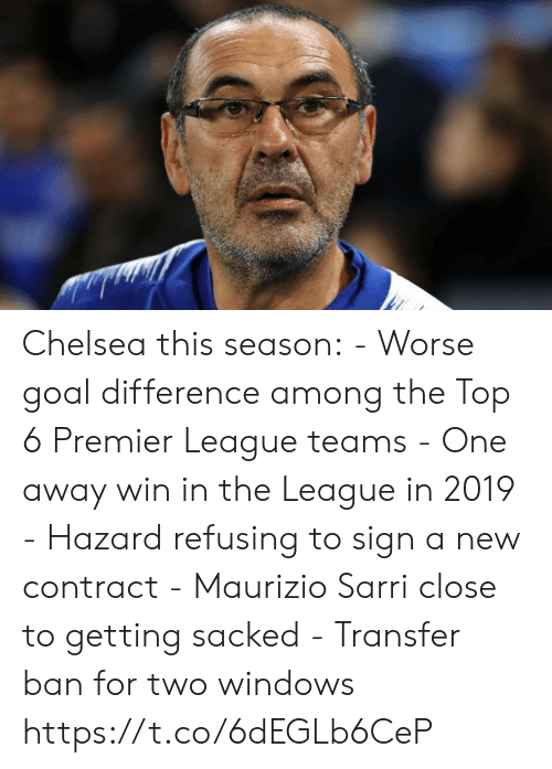 premier-league-teams: Chelsea this season:  - Worse goal difference among the Top 6 Premier League teams - One away win in the League in 2019 - Hazard refusing to sign a new contract - Maurizio Sarri close to getting sacked - Transfer ban for two windows https://t.co/6dEGLb6CeP