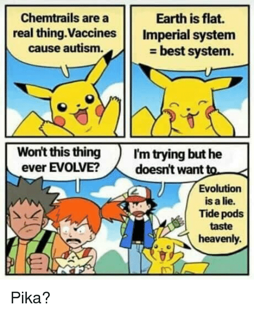 pika: Chemtrails are a  real thing.Vaccines Imperial system  Earth is flat.  cause autism.  - best system.  Won't this thingI'm trying but he  ever EVOLVE?doesn't want to  Evolution  is a lie.  Tide pods  taste  heavenly. Pika?