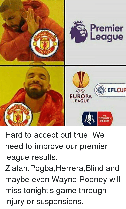 Memes, 🤖, and Europa: CHES  NITED  Premier  League  EFLCUP  EUROPA  LEAGUE  Emirates  FACUP Hard to accept but true. We need to improve our premier league results. Zlatan,Pogba,Herrera,Blind and maybe even Wayne Rooney will miss tonight's game through injury or suspensions.