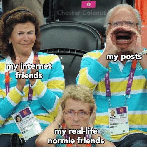 Dank, Friends, and Internet: Chester Colenut  my posts  my internet  friends  my real-life  normie friends  6