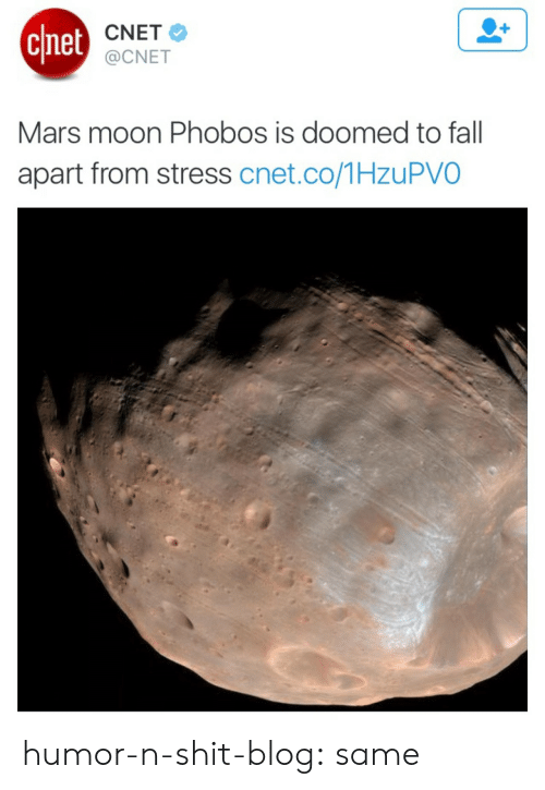 Cnet: chet  CNET  @CNET  Mars moon Phobos is doomed to fall  apart from stress cnet.co/1HzuPVO humor-n-shit-blog: same