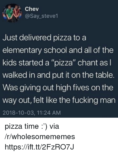 """Fives: Chev  @Say_steve1  Just delivered pizza to a  elementary school and all of the  kids started a """"pizza"""" chant asl  walked in and put it on the table.  Was giving out high fives on the  way out, felt like the fucking man  2018-10-03, 11:24 AM pizza time :') via /r/wholesomememes https://ift.tt/2FzRO7J"""