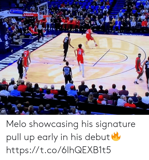 debut: Chevron  StateFarm  10  48 Melo showcasing his signature pull up early in his debut🔥 https://t.co/6lhQEXB1t5