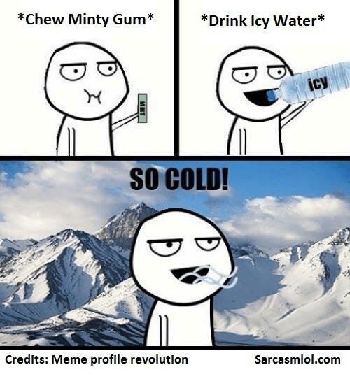 Drinking, Meme, and Revolution: *Chew Minty um  Drink icy Water  icy  SO COLD!  Credits: Meme profile revolution  Sarcasmlol.com