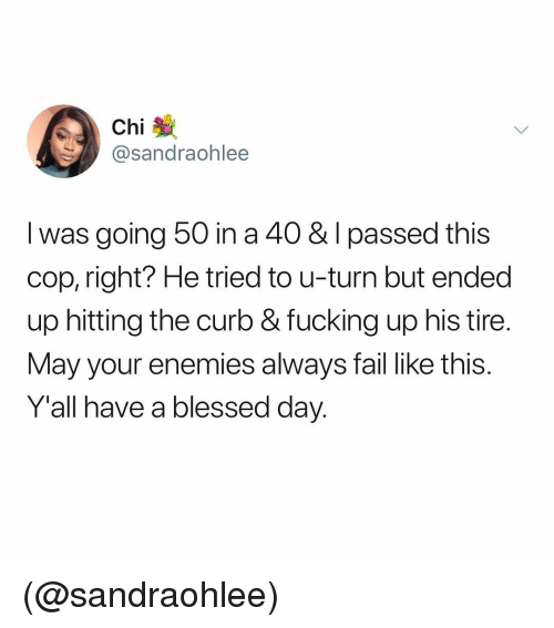 blessed day: Chi  @sandraohlee  I was going 50 in a 40 & I passed this  cop, right? He tried to u-turn but ended  up hitting the curb & fucking up his tire.  May your enemies always fail like this.  Y'all have a blessed day. (@sandraohlee)