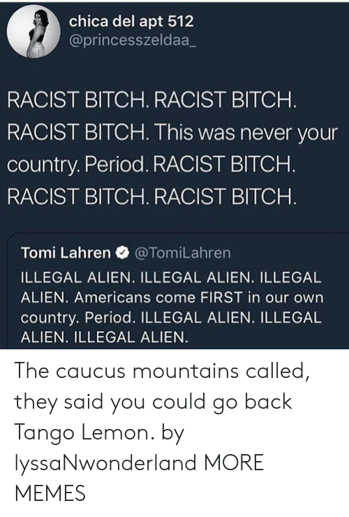 Tomi: chica del apt 512  @princesszeldaa_  RACIST BITCH. RACIST BITCH  RACIST BITCH. This was never your  country. Period. RACIST BITCHH  RACIST BITCH. RACIST BITCH  Tomi Lahren @TomiLahren  ILLEGAL ALIEN. ILLEGAL ALIEN. ILLEGAL  ALIEN. Americans come FIRST in our own  country. Period. ILLEGAL ALIEN. ILLEGAL  ALIEN. ILLEGAL ALIEN The caucus mountains called, they said you could go back Tango Lemon. by lyssaNwonderland MORE MEMES