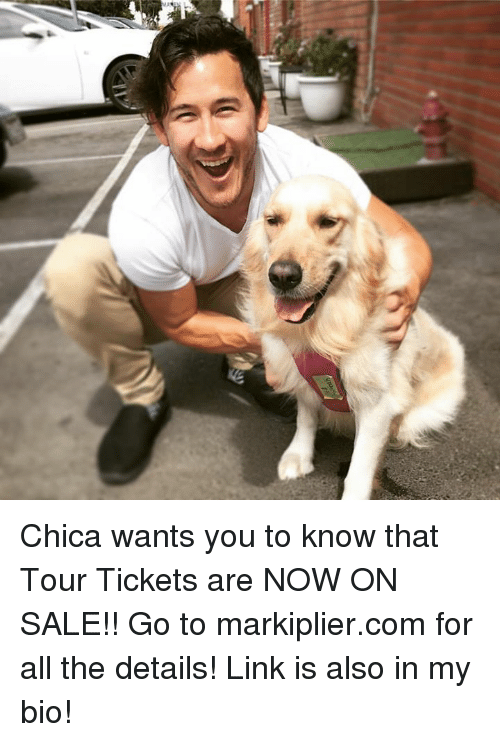 Saled: Chica wants you to know that Tour Tickets are NOW ON SALE!! Go to markiplier.com for all the details! Link is also in my bio!
