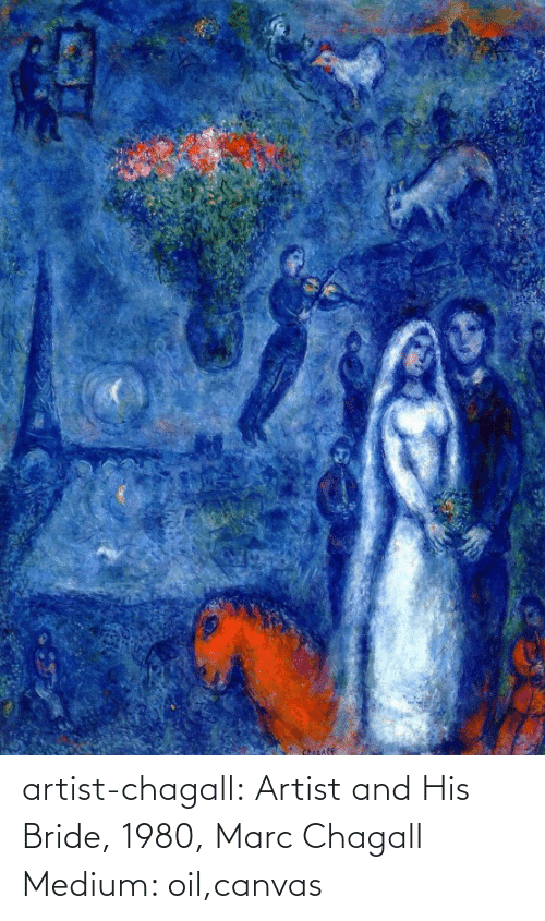 marc: Chicafe artist-chagall: Artist and His Bride, 1980, Marc Chagall Medium: oil,canvas