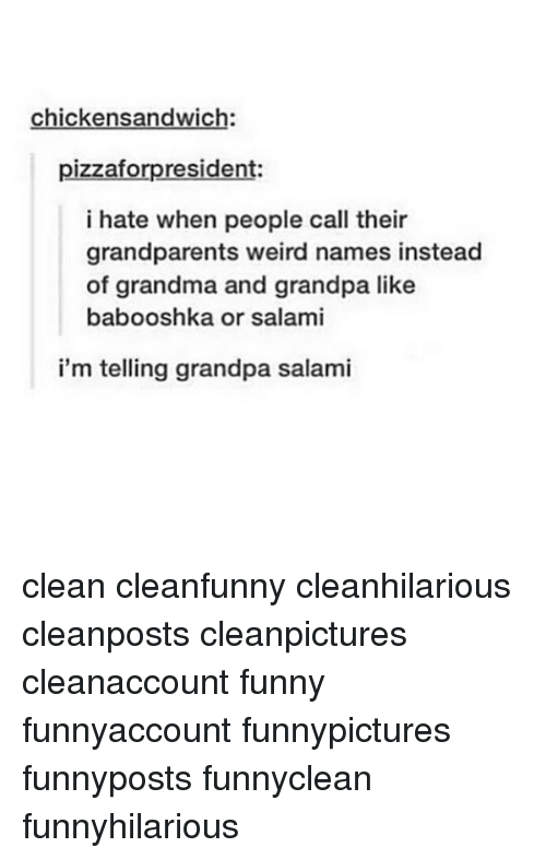 Funny, Grandma, and Memes: chickensandwich:  pizzaforpresident:  i hate when people call their  grandparents weird names instead  of grandma and grandpa like  babooshka or salami  i'm telling grandpa salami clean cleanfunny cleanhilarious cleanposts cleanpictures cleanaccount funny funnyaccount funnypictures funnyposts funnyclean funnyhilarious