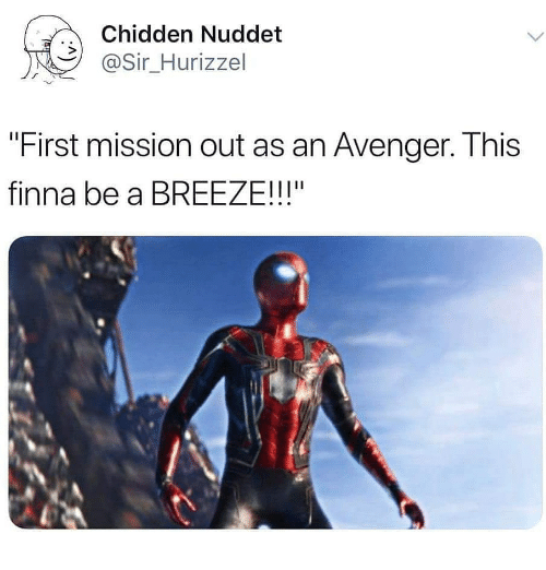 "Memes, Finna, and 🤖: Chidden Nuddet  @Sir_Hurizzel  ""First mission out as an Avenger. This  finna be a BREEZE!!!"""