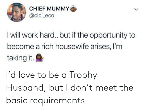 mummy: CHIEF MUMMY  @cici_eco  I will work hard.. but if the opportunity to  become a rich housewife arises, I'm  taking it.Q I'd love to be a Trophy Husband, but I don't meet the basic requirements