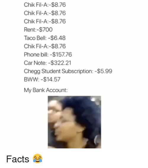 Facts, Funny, and Phone: Chik Fil-A:-$8.76  Chik Fil-A:-$8.76  Chik Fil-A:-$8.76  Rent:-$700  Taco Bell:-$6.48  Chik Fil-A:-$8.76  Phone bill: -$157.76  Car Note:-$322.21  Chegg Student Subscription: -$5.99  BWW: -$14.57  My Bank Account: Facts 😂