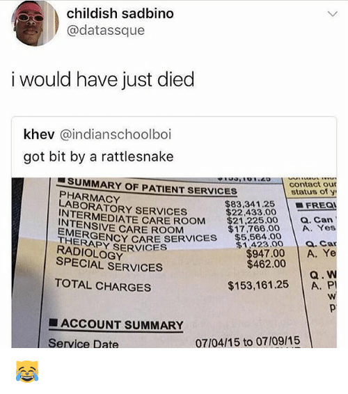 Memes, Date, and Patient: childish sadbino  @datassque  i would have just died  khev @indianschoolboi  got bit by a rattlesnake  ■SUMMARY OF PATIENT SERVICES  PHARMACY  contact our  status of y  $83,341.25FREa  LABORATORY SERVICES  $22,433.00  $21225.00 a. Can  INTERMEDIATE CARE ROOM  INTENSIVE CARE ROOM  $17,766.00 A. Yes  MERSENCY CARE SEES $5.504.00  THERAPY SERVICES  RADIOLOGY  $1,423.00 a.Car  $947.00 A. Ye  Q. W  $153,161.25 A. PI  SPECIAL SERVICES  $462.00  TOTAL CHARGES  ■ ACCOUNT SUMMARY  Service Date  07/04/15 to 07/09/15 😹