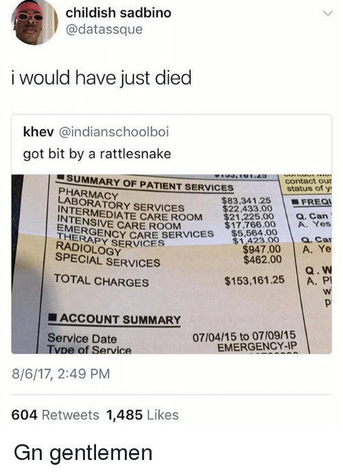 Memes, Date, and Patient: childish sadbino  @datassque  i would have just died  khev @indianschoolboi  got bit by a rattlesnake  SUMMARY OF PATIENT SERVICES  contact our  status of y  | ■ FREQI  PHARMACY  LABORATORY SERVICES  $83,341.25  $22,433.00  RMEDIATE CARE ROOM $21,225.00 a. Can  INTENSIVE CARE ROOM  EMERGE  THERAPY  RADIOLOGY  $17,766.00 A. Yes  a. Car  $947.00 A. Ye  ERENCY CARE SERVICES $.5.00  $1,423.00  SERVICES  SPECIAL SERVICES  $462.00  Q. W  $153,161.25 A. PI  TOTAL CHARGES  ■ ACCOUNT SUMMARY  07/04/15 to 07/09/15  EMERGENCY-IP  Service Date  pe of Service  8/6/17, 2:49 PM  604 Retweets 1,485 Likes Gn gentlemen