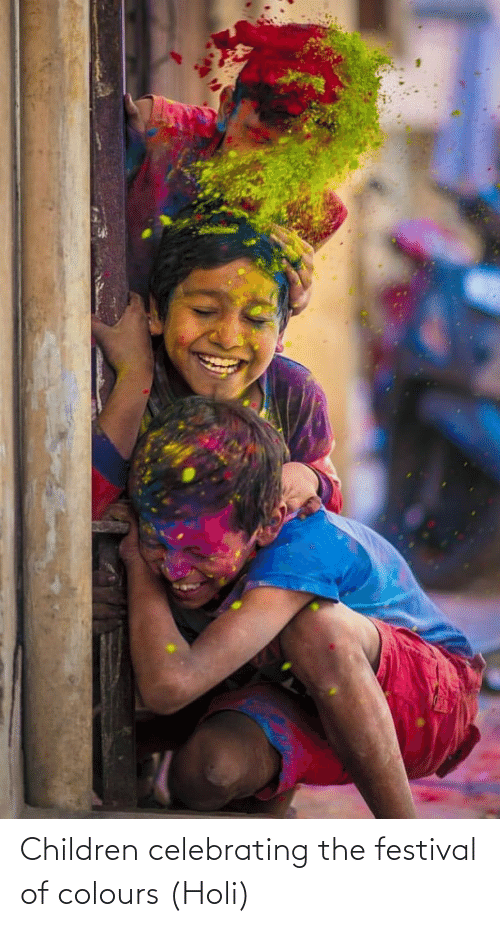 holi: Children celebrating the festival of colours (Holi)